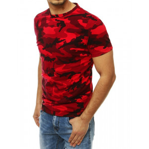 Originální červené pánské tričko s maskáčovým potiskem