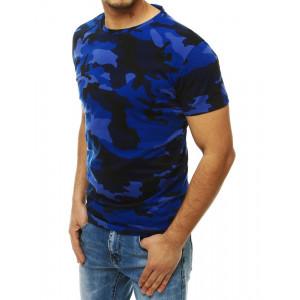 Tmavě modré pánské tričko s maskáčovým potiskem