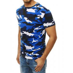 Modro bílé pánské tričko v maskáčovém vzoru