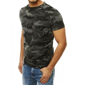 Šedé pánské tričko s krátkým rukávem v army vzoru