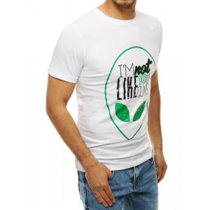 Stylové pánské bílé tričko s krátkým rukávem a nápisem