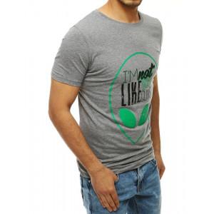 Trendy pánské šedé tričko s módní potiskem