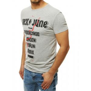 Moderní pánské šedé tričko s nápisem