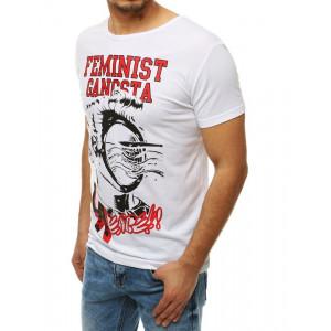 Moderní pánské bílé tričko s potiskem