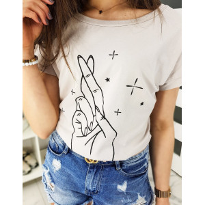 Originální béžové dámské tričko HAND s potiskem