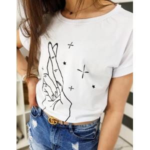 Módní dámské bílé tričko s potiskem