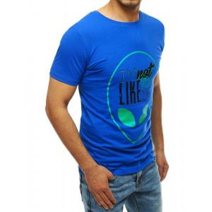 Krásne pánske modré tričko s potlačou