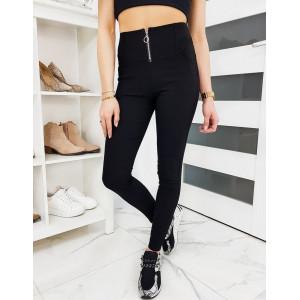 Černé dámské kalhotové legíny s vysokým pasem a zipem