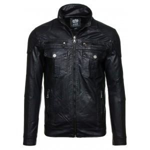 Černá pánská koženka bez kapuce