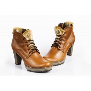 Zimné kožené topánky - HNEDÉ