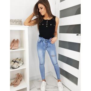 Stylové dámské skinny džíny s vysokým desingový pasem