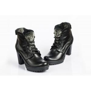Zimné kožené topánky - ČIERNA