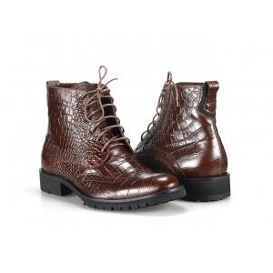 Pánské kožené boty COMODO E SANO hnědé barvy