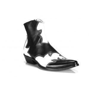 Pánské kožené kovbojky černo-bílé barvy