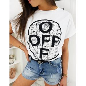 Trendy dámské bílé tričko s potiskem OFF