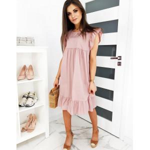 Letní dámské růžové šaty volného střihu