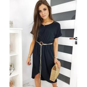 Stylové dámské černé letní šaty volného střihu