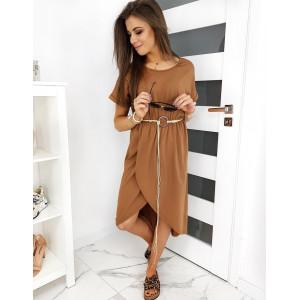 Originální dámské hnědé letní šaty volného střihu