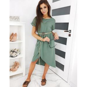 Pohodlné dámské zelené šaty asymetrického střihu