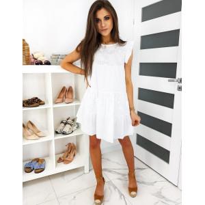 Letní dámské bílé boho šaty volného střihu