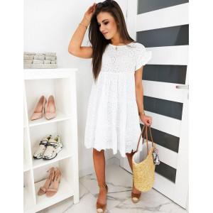 Oversize dámské bílé krajkované boho šaty