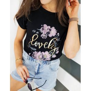 Stylové dámské černé tričko s potiskem květin a nápisem LOVELY