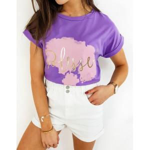 Trendy dámské fialové tričko se zlatým nápisem Blessed