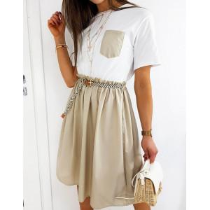 Originální dámské béžové šaty s páskem a kapsou