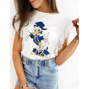 Originální bílé dámské tričko s krajkou a potiskem DONALD