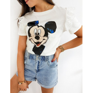 Bílé dámské tričko s krajkou a potiskem MICKEY