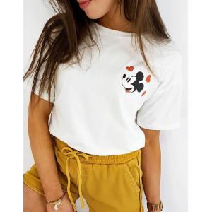 Stylové dámské bílé tričko se zadní potiskem disney