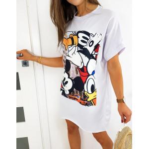 Stylové dámské bílé šaty s módním potiskem MICKEY