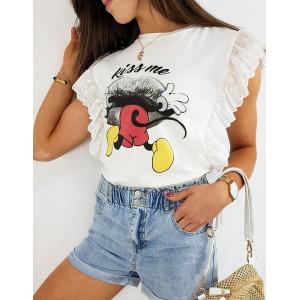 Dámské bílé tričko s krajkou a potiskem MICKEY KISS ME