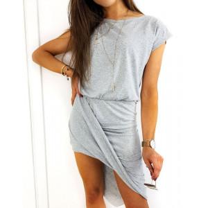 Šedé dámské asymetrické mini šaty