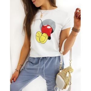 Originální dámské bílé tričko s potiskem MICKEY BOOM
