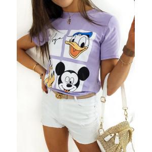 Trendy fialové dámské tričko s potiskem disney postaviček