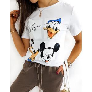Bílé dámské tričko s potiskem disney postaviček