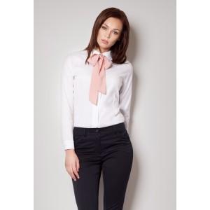 Dámská bílá košile s růžovou mašlí