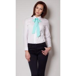 Elegantní košile bílé barvy s tyrkysovou mašlí
