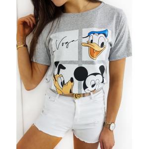 Letní dámské šedé tričko s potiskem disney postaviček