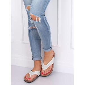 Letní dámské bílé pantofle s kamínky