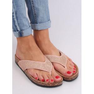 Dámské růžové pantofle s kamínky na korkové podrážce