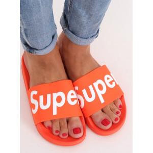 Letní dámské oranžové gumové pantofle k vodě