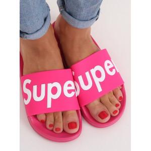 Krásné neonově růžové dámské gumové pantofle