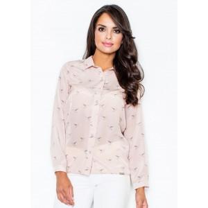 Letní dámská košile růžové barvy s ptáky