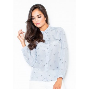 Dámská světle modrá košile s ptáky