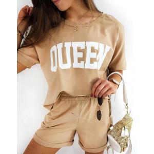 Dámský hnědý camel sportovní komplet s nápisem QUEEN
