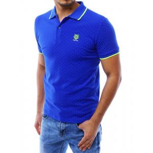 Pánská modrá polokošile s tečkami a s krátkým rukávem