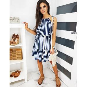 Pohodlné dámské šaty v modro bílé kombinaci