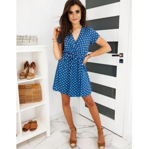 Dámské puntíkované šaty v modré barvě